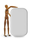 Wooden Mannequin. Holds a neutral grey blank board Royalty Free Stock Photos