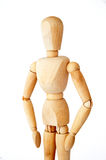 Wooden mannequin. On white background royalty free stock images
