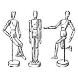 Wooden mannequin art figurine Stock Photos