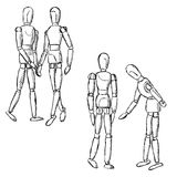 Wooden mannequin art figurines in pairs Royalty Free Stock Photography