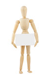 Wooden mannequin with blank card Royalty Free Stock Photo