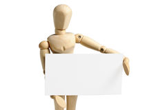 Wooden mannequin and blank paper Royalty Free Stock Photo