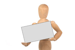 A wooden mannequin with business card Royalty Free Stock Photo