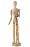 Wooden Mannequin Carrying a Big Key Stock Image