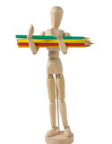 Wooden Mannequin Carrying Colored Pencils Stock Photography