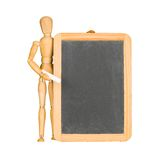 Wooden mannequin and chalkboard Stock Photos