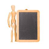 Wooden mannequin and chalkboard Royalty Free Stock Photo