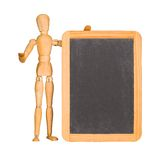 Wooden mannequin and chalkboard Stock Images