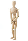 Wooden Mannequin Covering His Private Parts royalty free stock image