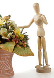 Wooden Mannequin With Flowers stock image