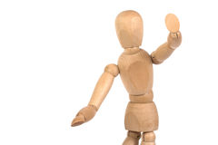 A wooden mannequin gesticulate. White background isolated royalty free stock photography