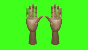 Wooden Mannequin Hand Counting on Green Screen stock video footage