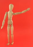 Wooden Mannequin in Hello Pose Royalty Free Stock Images
