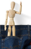 Wooden Mannequin Inside Blue Jeans Pocket Stock Photo