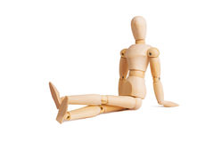 Wooden mannequin isolated on white. Various top positions royalty free stock photo