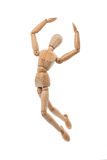 Wooden mannequin jumping. Wooden mannequin with freedom concept on white background stock photo