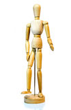 Wooden Mannequin Posing on White Background. 12 Wooden unisex mannequin for art posing casually on base with reflection royalty free stock photos