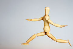 Wooden Mannequin Running Royalty Free Stock Photo