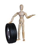 Wooden mannequin and the wheel Stock Photography