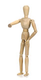 Wooden mannequin on a white background.  stock photos