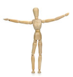 Wooden mannequin on a white background. Wooden mannequin on a white background royalty free stock image