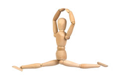 A wooden mannequin work out stock images