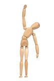 A wooden mannequin work out. White background isolated stock photo