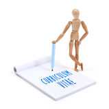Wooden mannequin writing in scrapbook - Curriculum vitae royalty free stock image