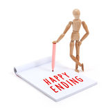 Wooden mannequin writing in scrapbook - Happy ending Stock Photos