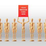Wooden mannequins people at the meeting with Royalty Free Stock Images