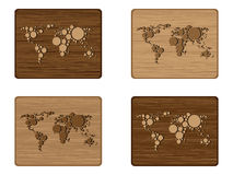 Wooden map banners Royalty Free Stock Images