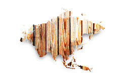 Wooden map of Eurasia Stock Image