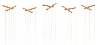 Marionette Strings Five Empty Bars No Puppets. Wooden marionette control bars. Five items with strings and no puppets. Symbol for manipulation, control stock illustration