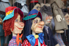 Wooden marionette puppets for a children theater royalty free stock photo