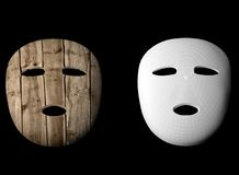 Wooden mask 3d illustration Royalty Free Stock Photos
