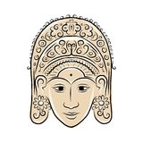 Wooden mask of indonesian dancer woman, sketch for Stock Image