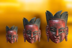 Wooden mask from South America. Old ceremonial mask from South America made of the hard wood Royalty Free Stock Images