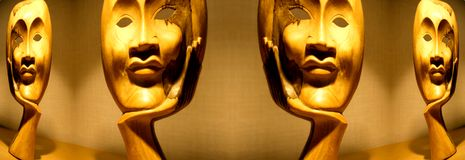 Wooden masks. A wooden mask image made in photoshop royalty free stock photography