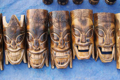 Wooden masks , Indian handicrafts fair at Kolkata Royalty Free Stock Images