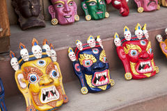 Wooden Masks, Kathmandu, Nepal Stock Photos