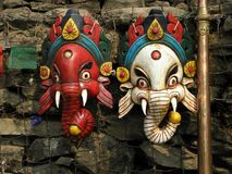 Wooden Masks in Kathmandu, Nepal. These are two wooden masks of the Hindu God, Ganesh, in Kathmandu, Nepal royalty free stock photography