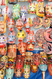 Wooden masks at the market of Chchicastenango Royalty Free Stock Images