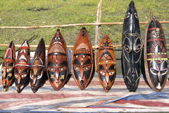Wooden masks, Papua New Guinea Stock Photos
