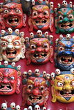 Wooden masks for sale in nepal. Royalty Free Stock Photo