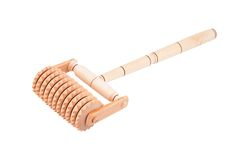 Wooden massager. Wooden roller massager, isolated on white background Stock Image