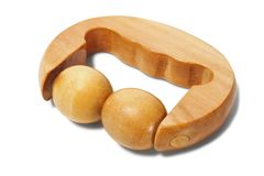 Wooden massager on white Royalty Free Stock Image