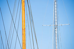 Wooden Mast, Rigging and Ropes of sailing boat Stock Photos