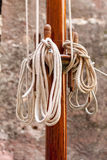 Wooden mast and ropes Royalty Free Stock Photography