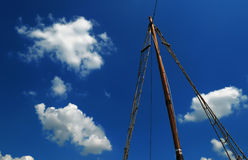 Wooden mast sailing ship Stock Images