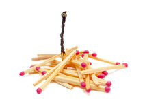 Wooden matches. With one burned out,  on white background Stock Photo